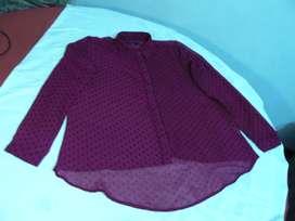 Camisa de Dama de Gasa Bordeaux a Lunares Cuesta Blanca Talle 42