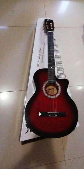 guitarra acustica roja nueva