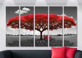 Cuadro Decorativo Arbol Rojo