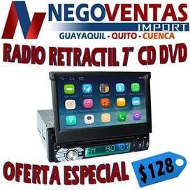 RADIO DE UN DIN RETRACTI LECTOR DE CD OPCION A CAMARA DE RETRO  USB SD