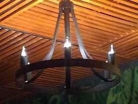 Lampara de techo 6 luces fabricada en metal