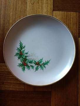 Plato porcelana de postre Motivo Navidad borde dorado