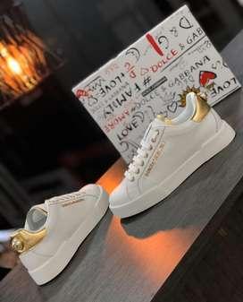 Tenis Dolce & Gabbana Royal Blanco Dorado Cuero Envio Gratis