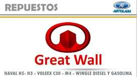 REPUESTOS GREAT WALL PARA AUTOS HAVAL H3, HAVAL H5, VOLEX C30, FLORID, M4, WINGLE GASOLINA Y DIESEL
