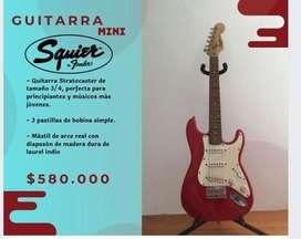 Venta de guitarra electrica Fender Squire Mini y Amplificador fender 15G