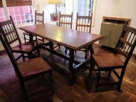 juego de comedor de cedro con 6 sillas
