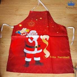 Delantal Navidad Rojo Cocina Papa Noel Feliz Muñeco Nieve