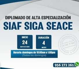 DIPLOMADO DE ALTA ESPECIALIZACIÓN SIAF SIGA SEACE 2020 (VIRTUAL ONLINE)