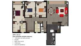 Espectacular apto como nuevo, en club house. 132m2. 3 hab/3 baños/estudio/dos balcones/lavanderia indep/2 parqueos indep
