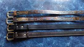 Cintos artesanales de cuero y de cuero crudo bordado NUEVOS