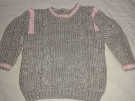 buzo de nena 2-3 años tejido gris y rosa y campera gris