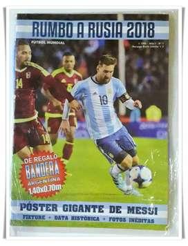Impresionante Revipóster Argentina Mundial 2018 con tapa Messi y bandera Argentina incluida.