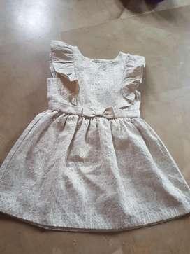 Vestido Carters 4 Años Blanco Dorado