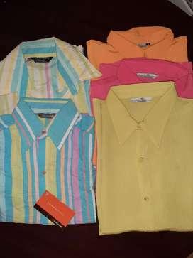 Camisas M/C seda y corrugadas