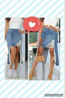 Falda asimétrica en jean