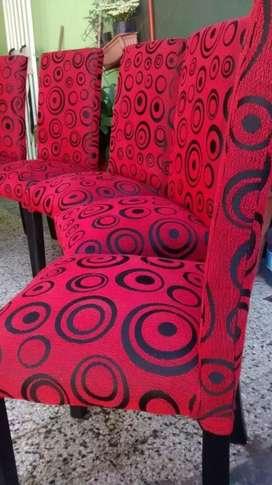 Juego de 6 sillas chenille