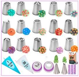 Juego de 50 puntas de tubería rusas – 15 boquillas numeradas y fáciles de usar – 2 puntas de hoja – 2 acopladores