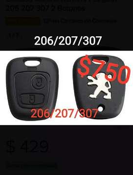 Carcasa llave 2 botones Peugeot 206/207/307/partner