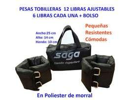 PESAS TOBILLERAS 12 LIBRAS AJUSTABLES MAS BOLSO IMPERMEABLE