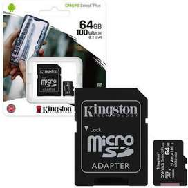 Memoria Micro Sd Kingston 64gb Canvas Plus Clase 10 100mb/s