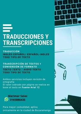 Traducciones y Transcripción de Textos