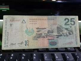 Billete de 25 colones de 1999