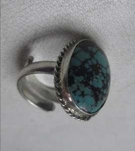 anillo en plata graduable con turquesa