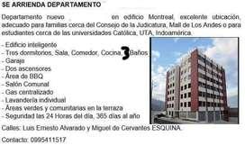 ARRIENDO DEPARTAMENTO EDIFICIO MONTREAL CERCA DE MALL