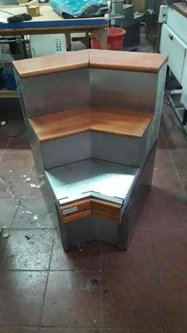 Mueble Esquinero Acero Inox. Y Madera