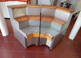 Mueble esquinero madera y acero inoxidable