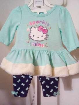 Vestido y Leggins Hello Kitty , de 0 a 3 meses