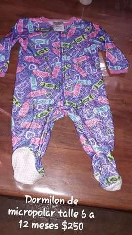 Dormilon para beba talle 6 a 12 meses micropolar