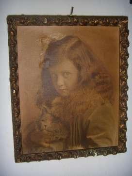 Foto Antigua Nena Con Gatito Con Bello Marco 19 cm x 23 cm