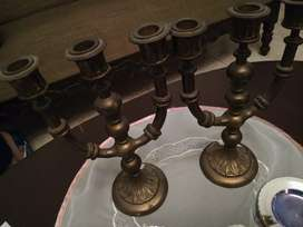 Candelabros antiguos en bronce 3 luces