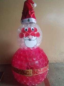 Muñeco de nieve y Papá Noel en vasos