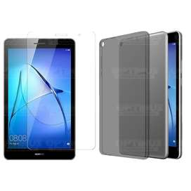 Kit Vidrio Cristal Templado Screen Protector y Estuche Case Forro Manguera Silicona Humo Tablet Huawei Tab T3 8 Pulgadas