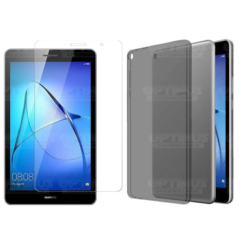 Kit Vidrio Cristal Templado Screen Protector y Estuche Case Forro Manguera Silicona Humo Tablet Huawei Tab T3 8 Pulgadas 0