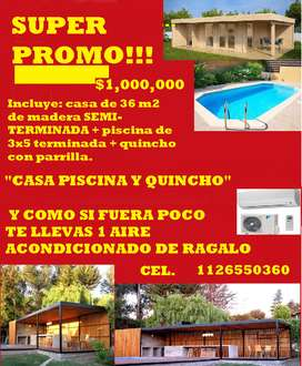 CASA QUINCHO Y PISCINA CONSTRUCCION