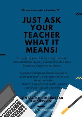clases de inglés y acompañamiento estudiantil