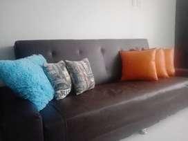 Sofa Cama en cuero + mesa de centro