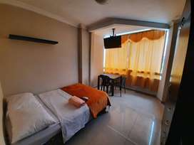 Suite Estudio servicio Hotel Tv Cable, A/C, Internet, Agua caliente Riocentro Norte Samanes