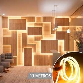 Manguera Plana Luz Led Neón 10 Metros Cálida 960 Luces ZE010CA