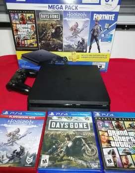 Vendo ps4 mega pack en buen estado con 3 juegos + mando  : gta v, horizon edición completa, days gone