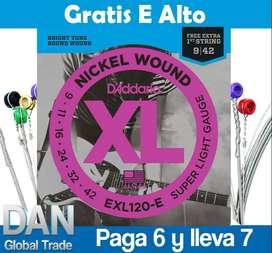Cuerdas Guitarra Eléctrica 09-42 D'Addario Gratis cuerda extra