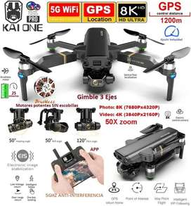 Drone Kai One Pro Cámara 8k Gimble Cardan 3 Ejes motores sin escobillas Gps bolso 1200m 25 min Brushless
