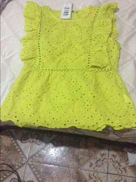 Hermosa blusa en hoja rota amarillo neón!!