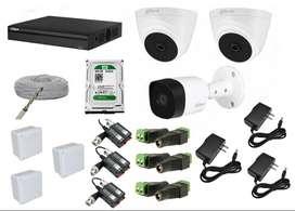 Kit de 3 Camaras de seguridad dahua full 1080p + Dvr de 4 Full hd 1080p