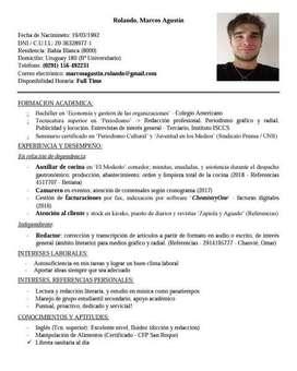 Busco empleo como auxiliar gastronomico