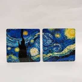 Posavasos/ mini cuadros de madera. La Noche Estrellada Vincent Van Gogh.