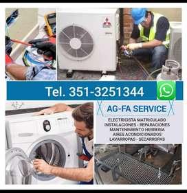 ELECTRICISTA MATRICULADO. SERVICE de aire acondicionado y lavarropas.